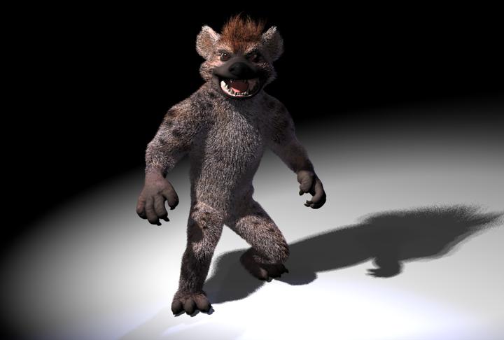 hyena with fur